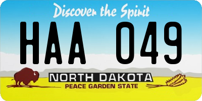 ND license plate HAA049