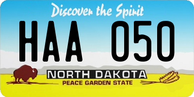 ND license plate HAA050