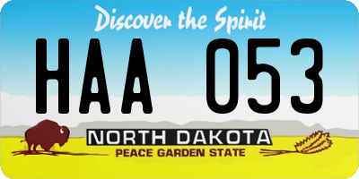 ND license plate HAA053