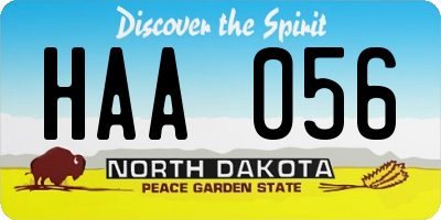 ND license plate HAA056