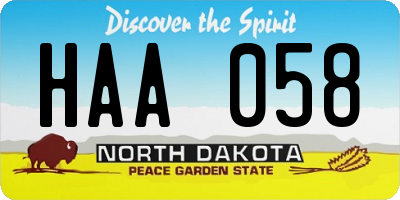 ND license plate HAA058