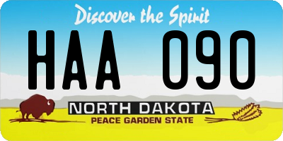 ND license plate HAA090