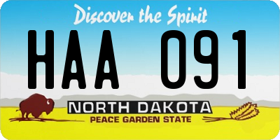 ND license plate HAA091