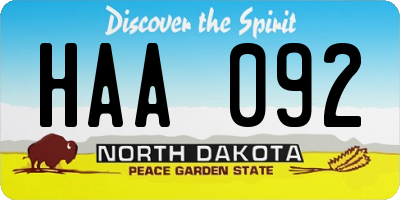 ND license plate HAA092