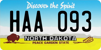 ND license plate HAA093