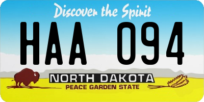 ND license plate HAA094