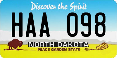 ND license plate HAA098
