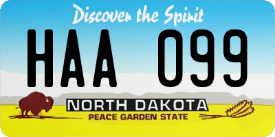 ND license plate HAA099