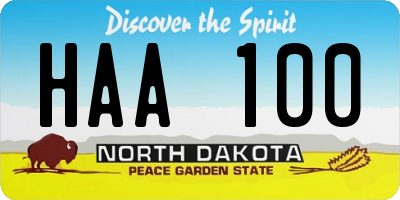 ND license plate HAA100