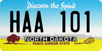 ND license plate HAA101