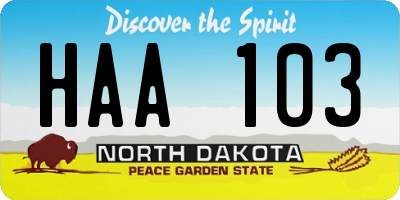 ND license plate HAA103
