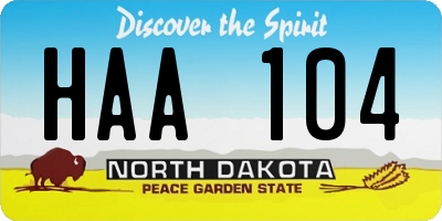 ND license plate HAA104