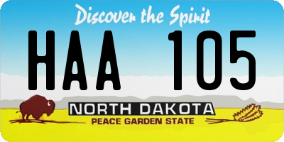ND license plate HAA105