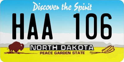ND license plate HAA106