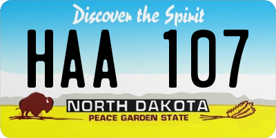 ND license plate HAA107