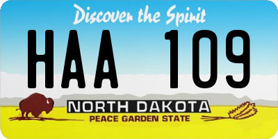 ND license plate HAA109