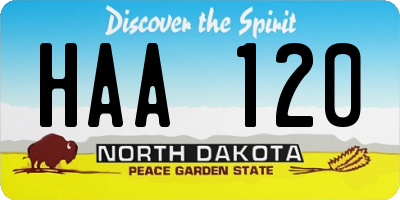ND license plate HAA120