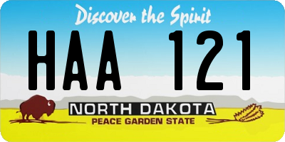 ND license plate HAA121