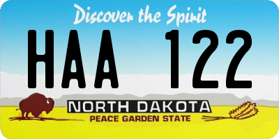 ND license plate HAA122