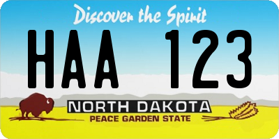 ND license plate HAA123