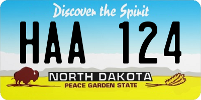 ND license plate HAA124