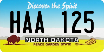 ND license plate HAA125