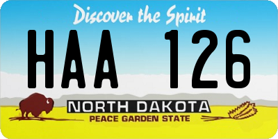 ND license plate HAA126