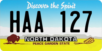 ND license plate HAA127