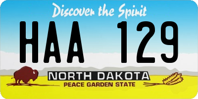 ND license plate HAA129