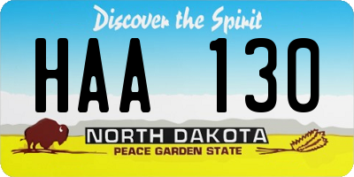 ND license plate HAA130