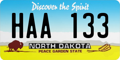 ND license plate HAA133
