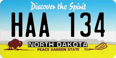 ND license plate HAA134