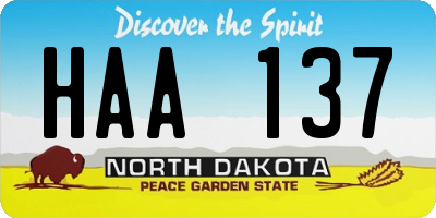 ND license plate HAA137