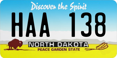 ND license plate HAA138