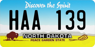 ND license plate HAA139