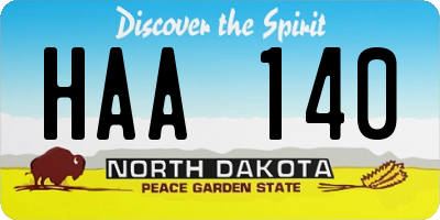 ND license plate HAA140