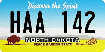 ND license plate HAA142