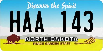 ND license plate HAA143
