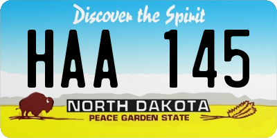 ND license plate HAA145