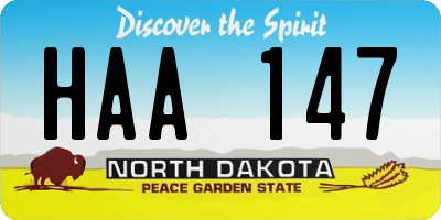 ND license plate HAA147