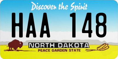 ND license plate HAA148
