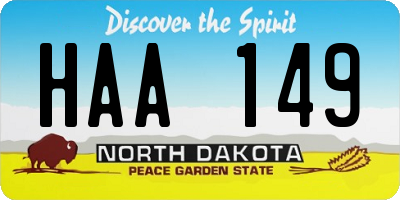 ND license plate HAA149