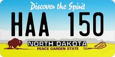 ND license plate HAA150