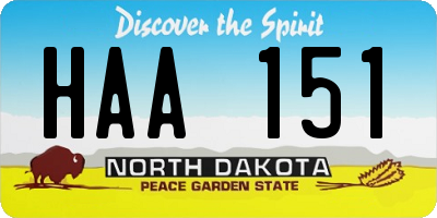ND license plate HAA151