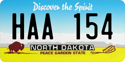 ND license plate HAA154