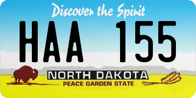 ND license plate HAA155