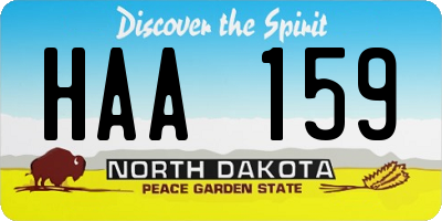 ND license plate HAA159
