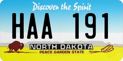 ND license plate HAA191