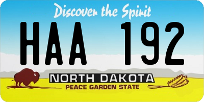 ND license plate HAA192