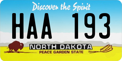 ND license plate HAA193